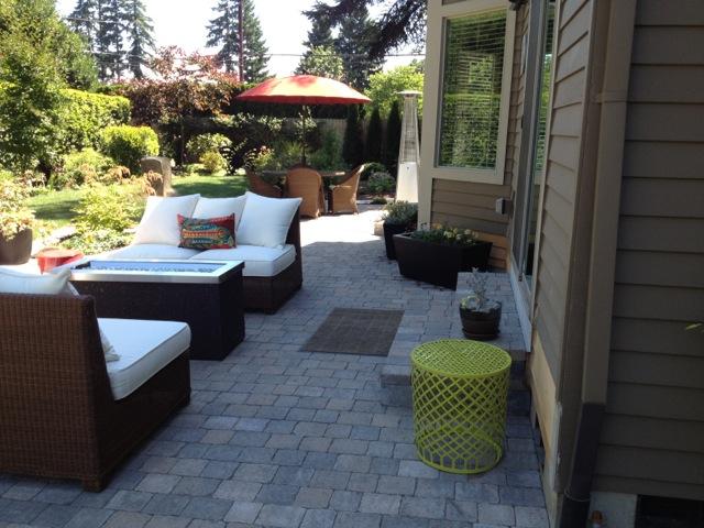 Back patio landscape Portland Oregon